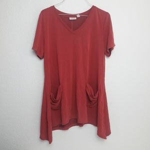 LOGO Brick Red M Tunic Top Pockets Slouchy Casual